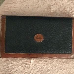 Dooney Black and Tan leather checkbook cover